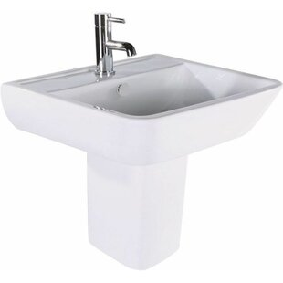 Railway Ceramic Rectangular 470 mm Semi Pedestal Basin by Belfry Bathroom