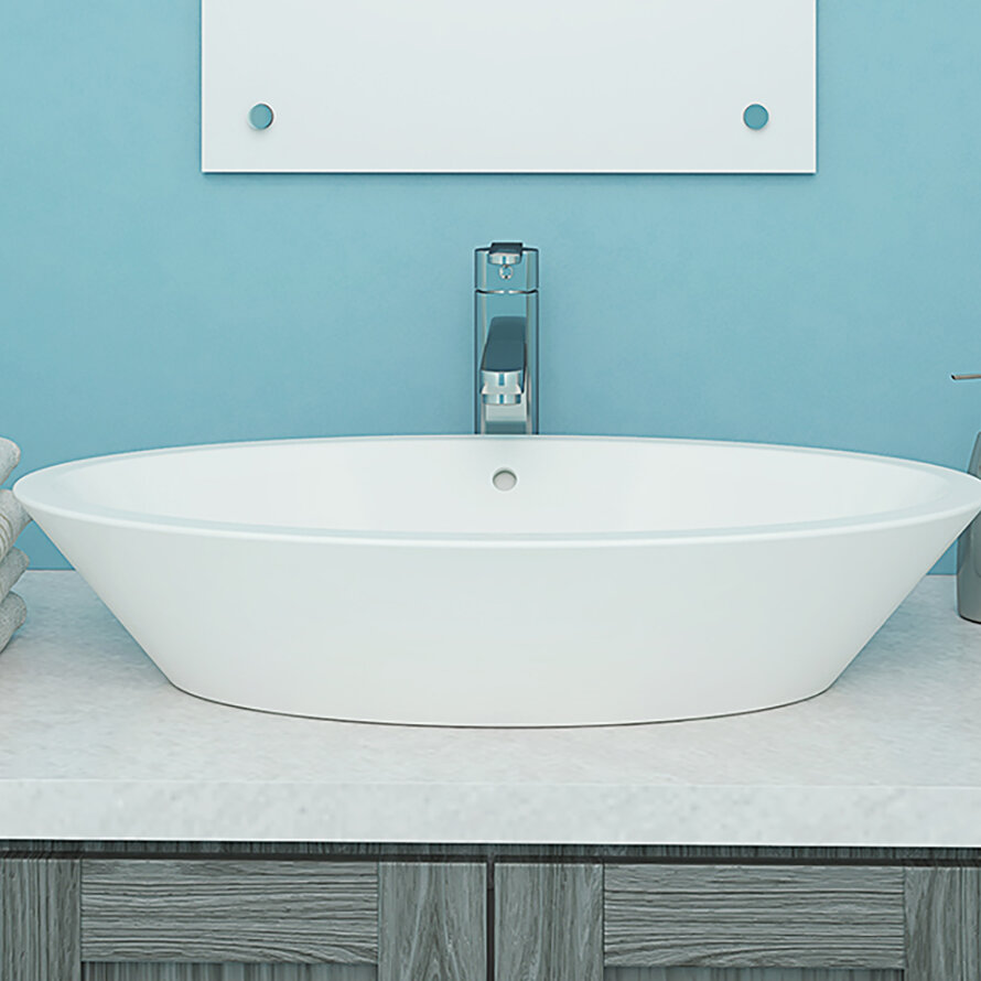 Decolav Shaina Classically Redefined Ceramic Oval Vessel Bathroom