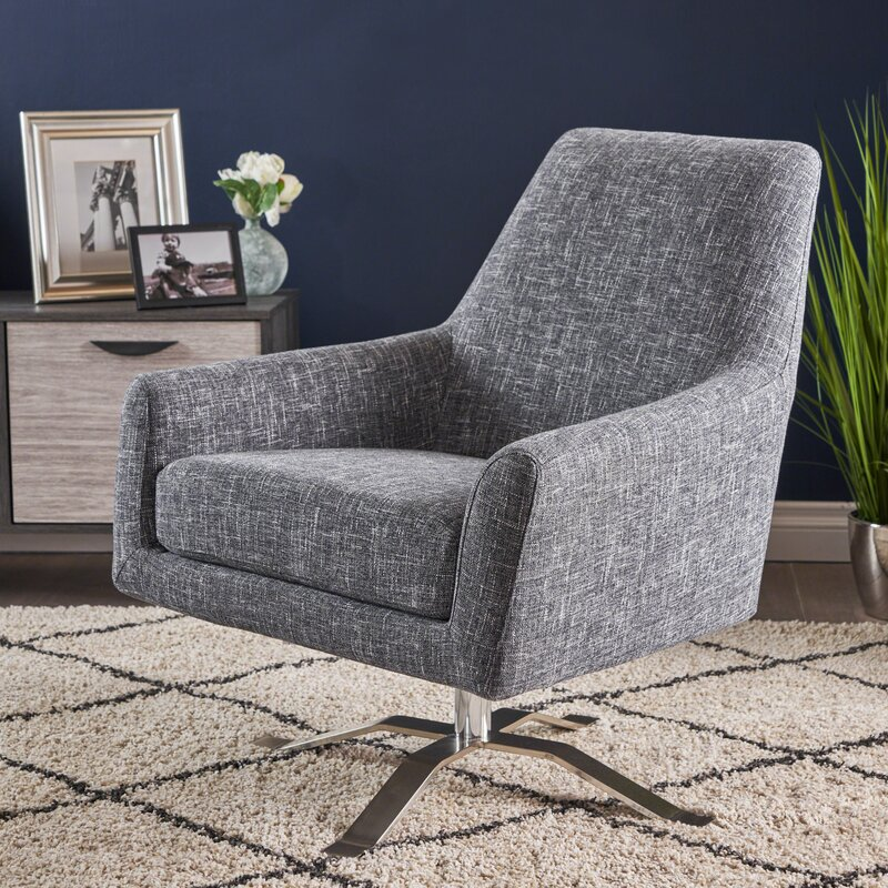 Shevlin Modern Fabric Swivel Armchair
