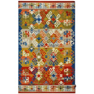 Handmade Kilim Wool Blue/Red/Orange Rug by Bakero
