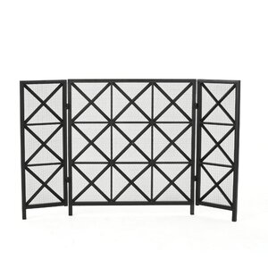 Bogar 3 Panel Iron Fireplace Screen