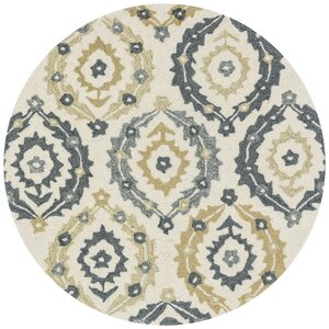 Francesca Hand-Hooked Ivory/Graphite Floral Area Rug