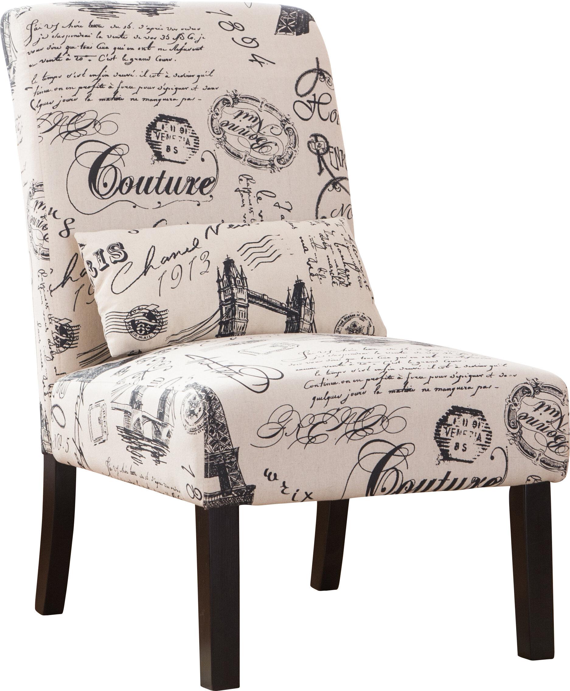 Pisano Script Linen Print Fabric Armless Contemporary Slipper Chair
