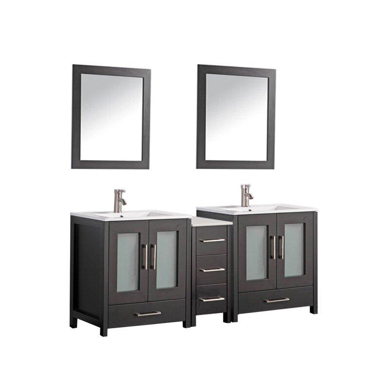 "Larosa 72"" Double Sink Bathroom Vanity Set with Mirror"