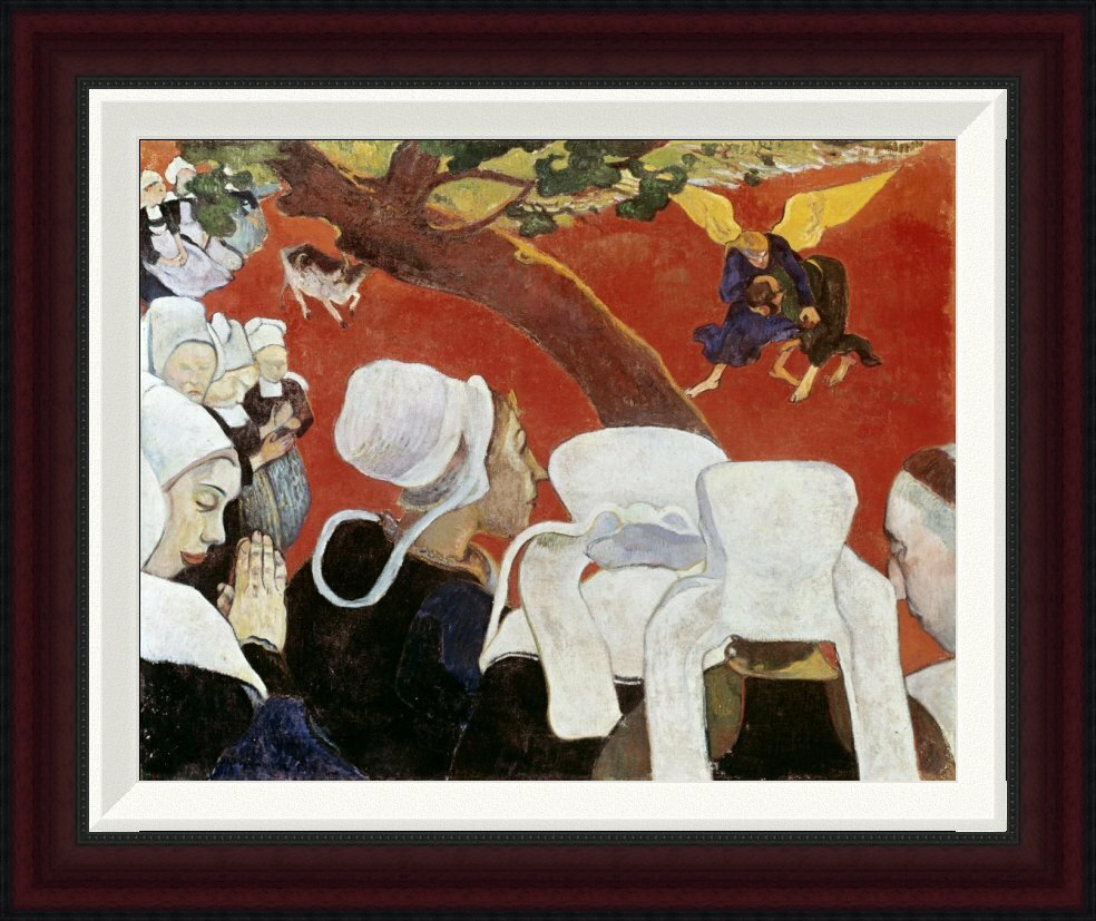 Global gallery vision after the sermon by paul gauguin for Best brand of paint for kitchen cabinets with iron man wall art