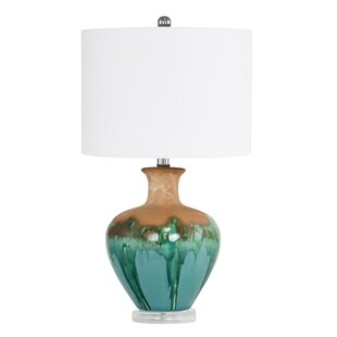 Teal bedroom lamps wayfair crandell ceramic 25 table lamp mozeypictures Image collections