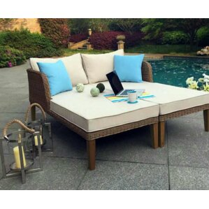 Marvelous Lazio Outdoor Wicker Double Chaise Lounge With Cushions (Set Of 2) Part 31