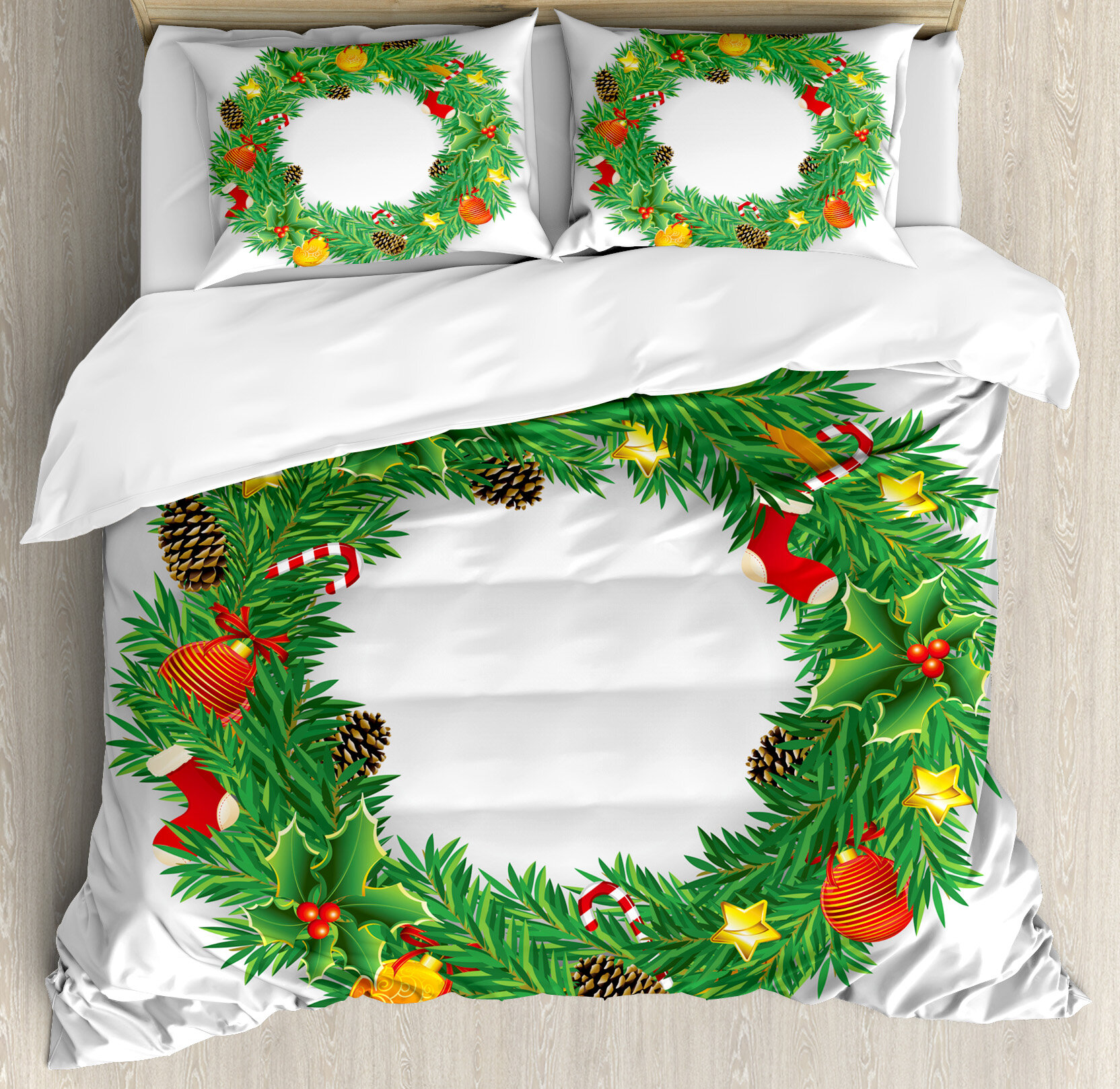 Ambesonne Christmas Wreath Evergreen With Candy Cane
