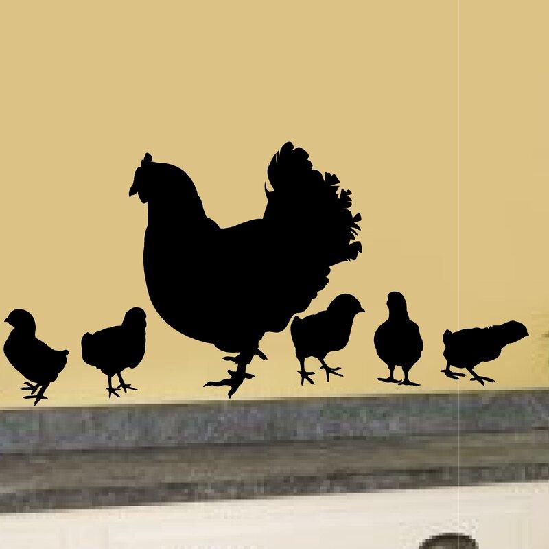 5 piece chicken hens baby chick vinyl garden farm theme kitchen porch wall decal