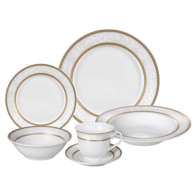 Amelia 24 Piece Porcelain Dinnerware Set Service for 4  sc 1 st  Wayfair & Lorren Home Trends Amelia 24 Piece Porcelain Dinnerware Set Service ...
