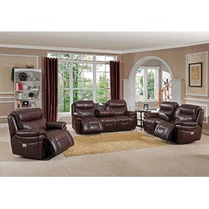 Amax Sanford 3 Piece Leather Living Room Set