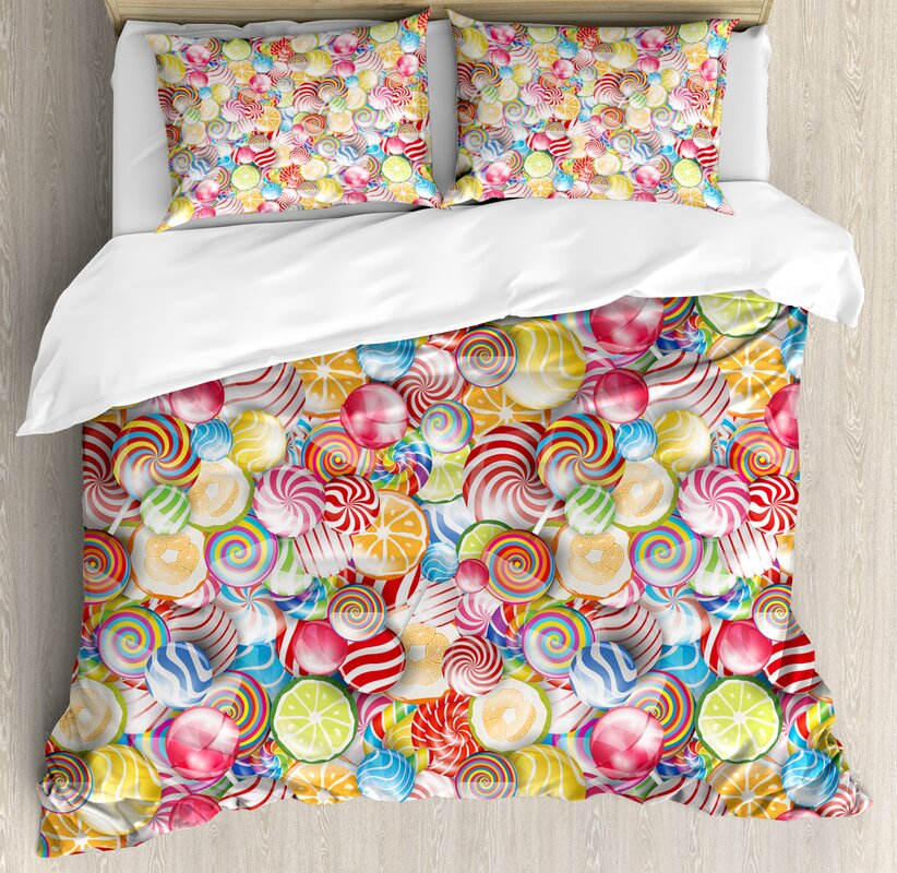 Colorful Home Spiral Sugar Candy Sweets Lolly Pops Dessert Fun Kids Nursery Theme Duvet Set