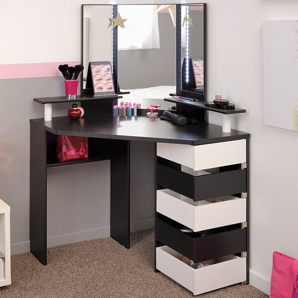 vanity desk.  Parisot Volage Makeup Vanity with Mirror Reviews Wayfair