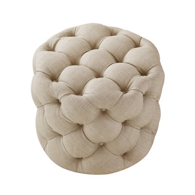 House of Hampton Mucha Tufted Cube Ottoman Upholstery Color: Beige, Upholstery Material/Body Fabric: Linen