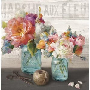 'French Cottage Bouquet III' Painting Print on Canvas