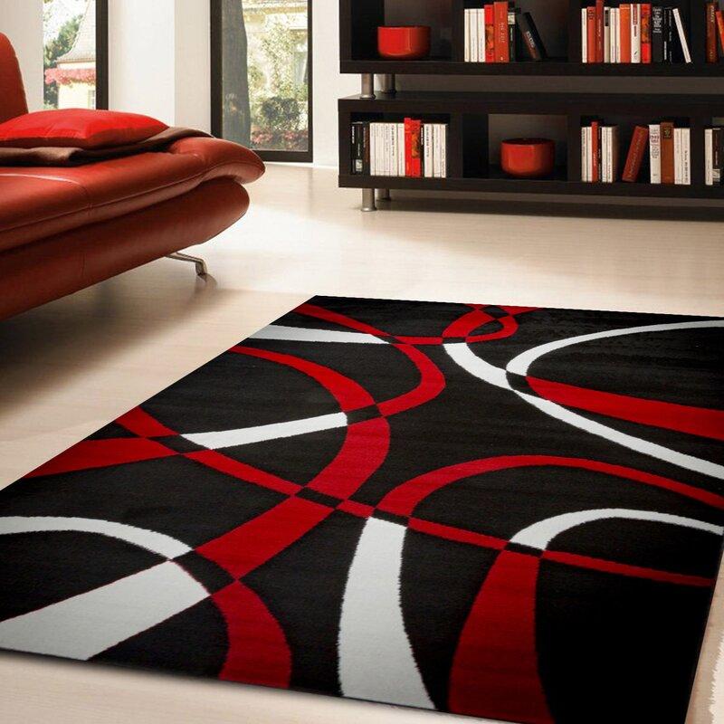 Ebern Designs Nevaeh Black White Red Area Rug Reviews Wayfair