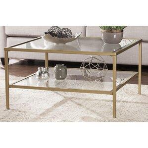 Myron Square Metal Glass Open Shelf Coffee Table