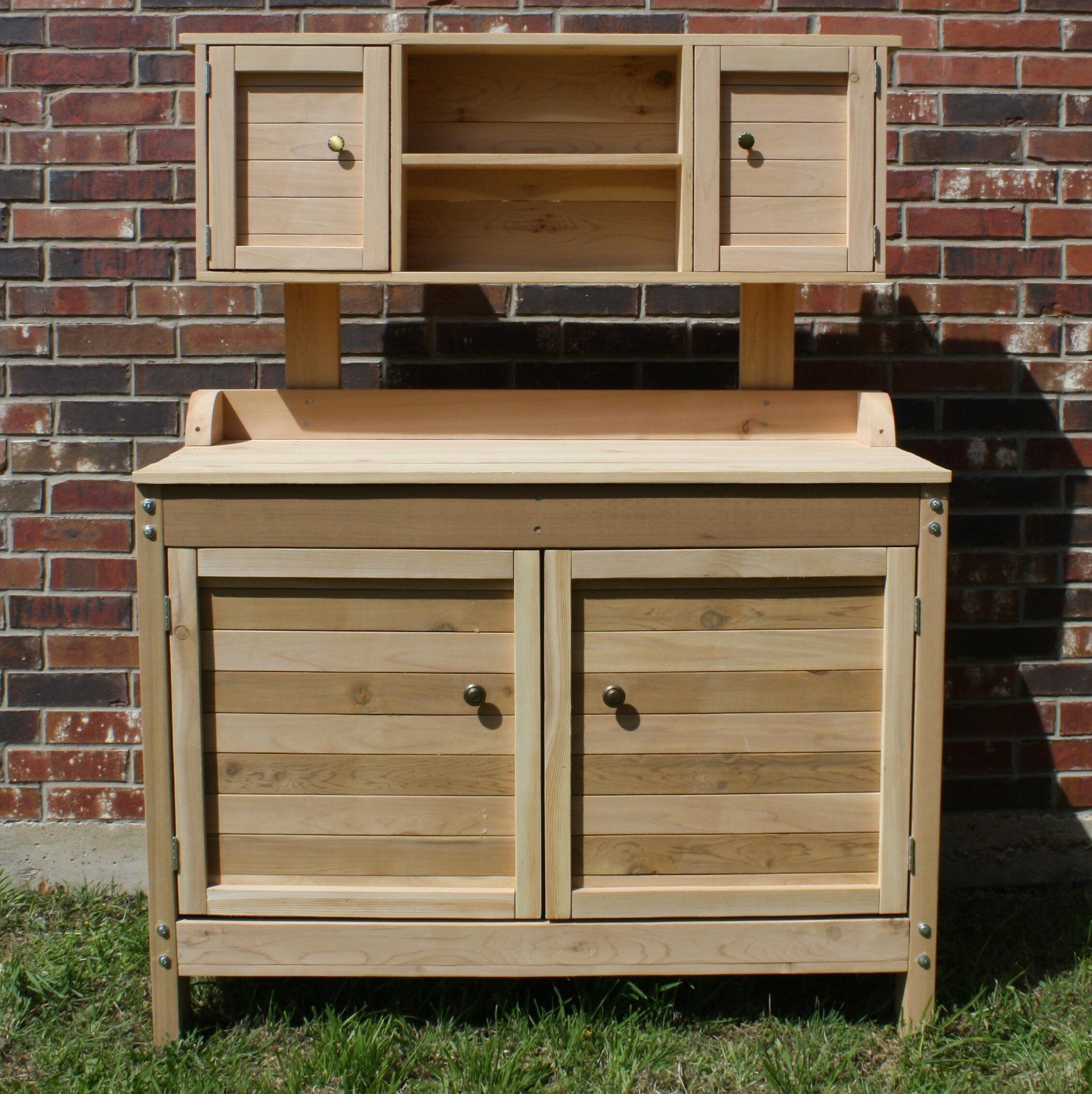 Threeman Products Cedar Premier Potting Bench With Upper Cabinet Wayfair