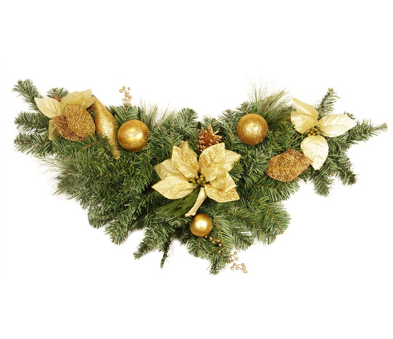 Pre Decorated Pine Poinsettia and Ornament Adorned Artificial Christmas Swag