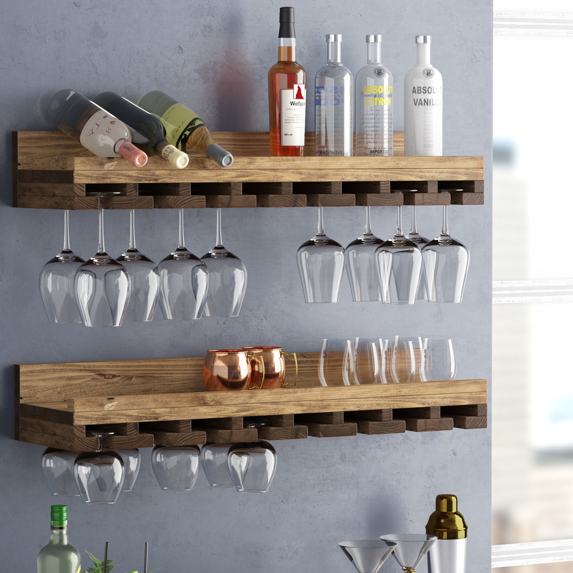 Trent Austin Design Bernardo Rustic Luxe Tiered Wall Mounted Wine