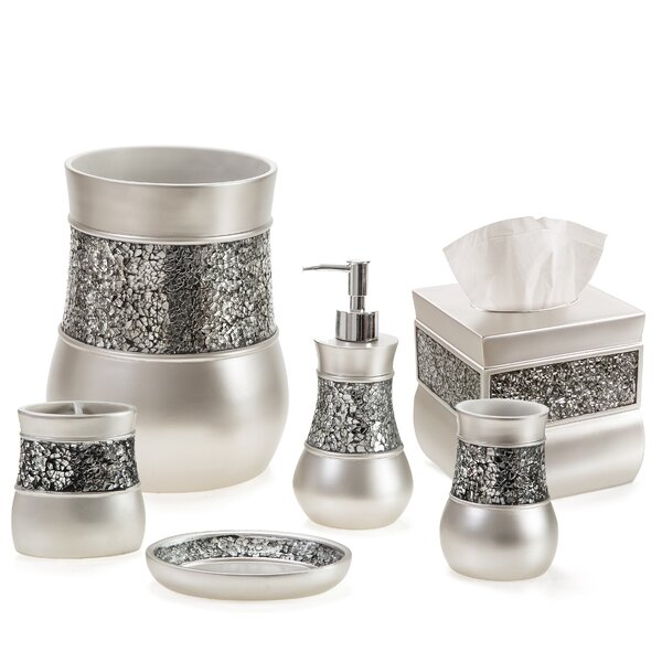 Everly Quinn Keira Brushed Nickel Piece Bathroom Accessory Set - Brushed silver bathroom accessories