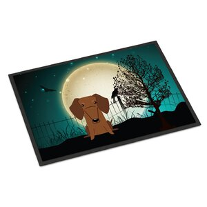 Halloween Scary Dachshund Doormat