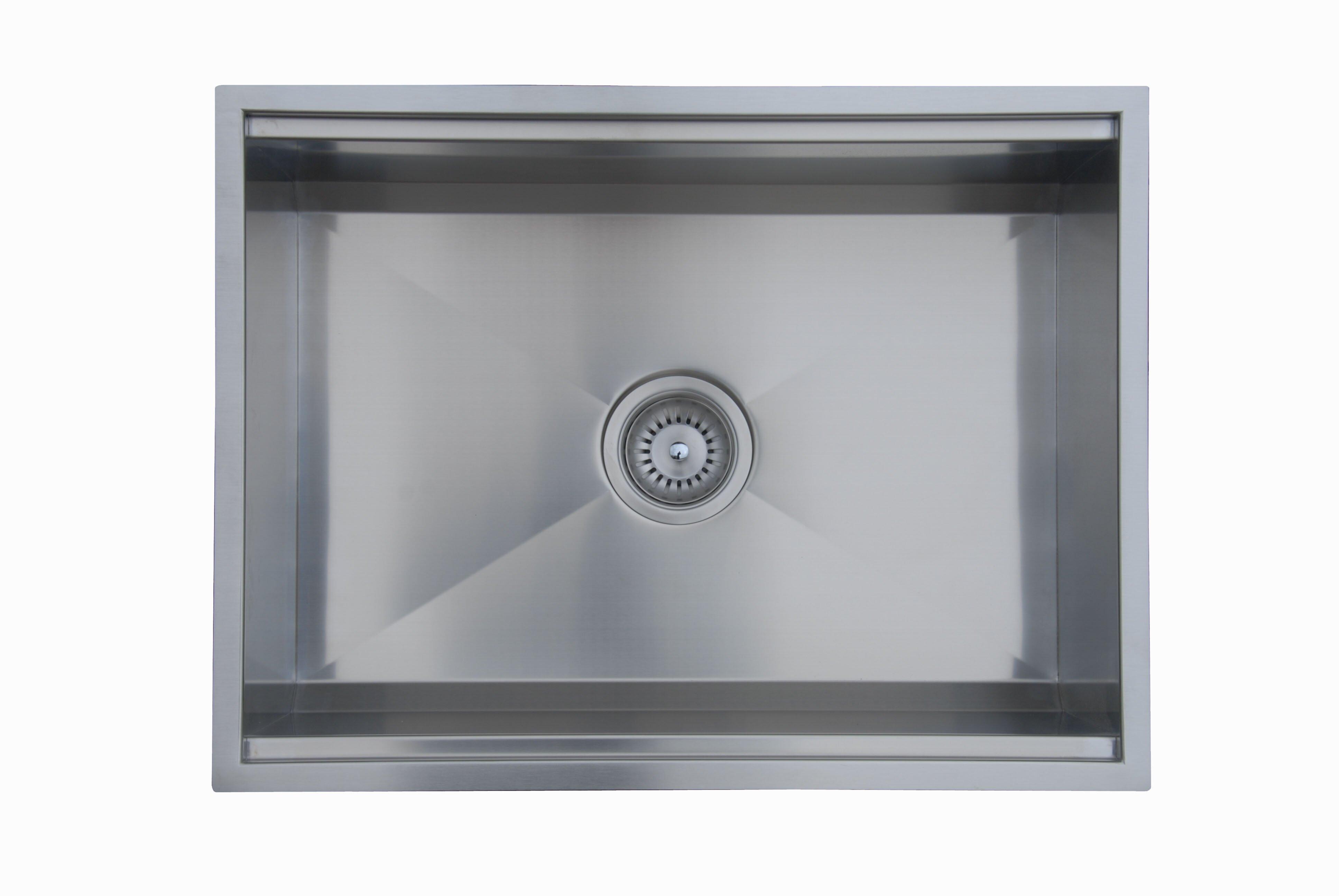 Ukinox 24 5 l x 18 5 w zero radius single bowl kitchen sink wayfair