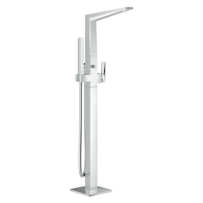 Allure Brilliant Single Handle Floor Mounted Tub Filler Trim With Hand  Shower