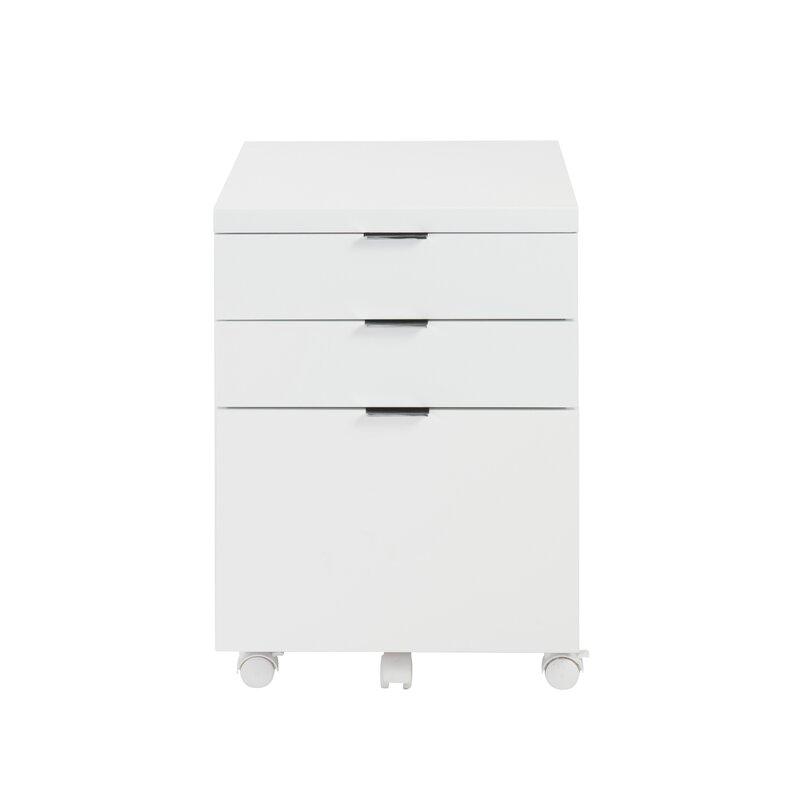 Wade Logan Mcgrady Drawer Mobile Backert Filing Cabinet - 3 drawer black file cabinet
