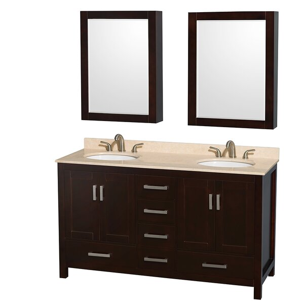 Wyndham Collection Sheffield 60 Double Espresso Bathroom Vanity Set