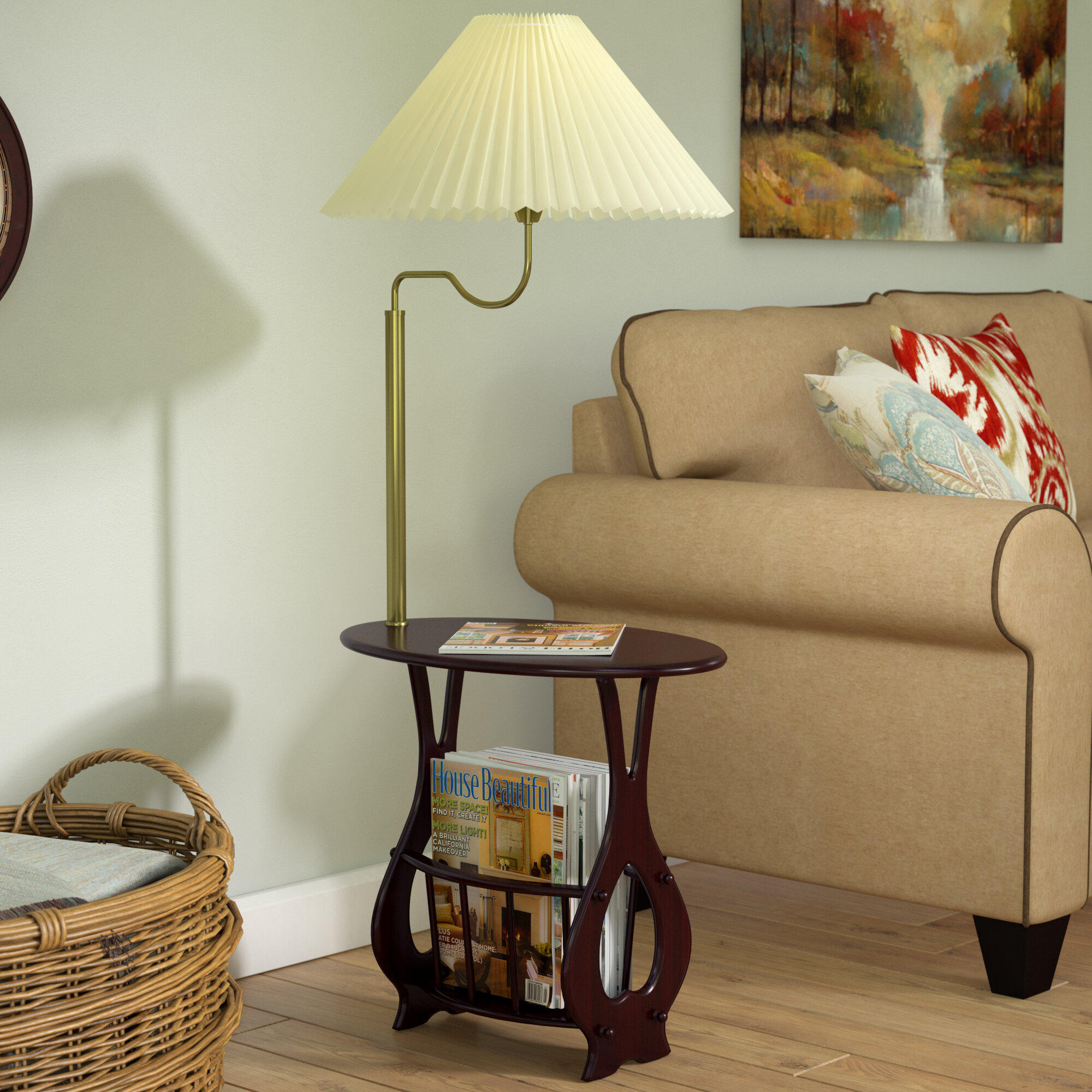 Portersville Floor Lamp End Table Magazine Rack Combination