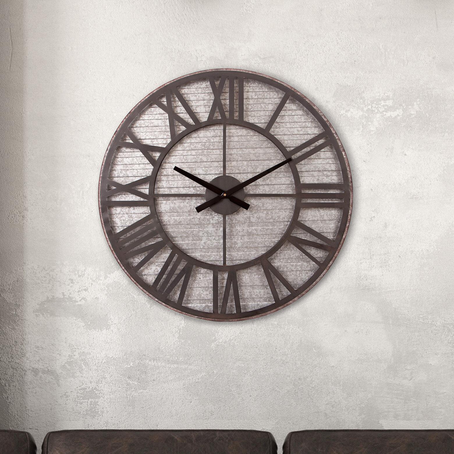Williston forge oversized windell rustic 28 5 wall clock wayfair