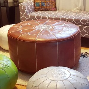 Giant Moroccan Leather Pouf Ottoman
