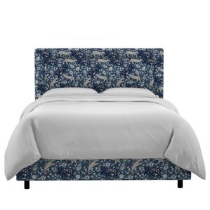 Nasir Border Linen Upholstered Panel Bed by World Menagerie