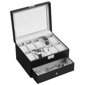 10 Grid Watch and Cufflink Box  sc 1 st  Wayfair : faux leather jewelry boxes - Aboutintivar.Com