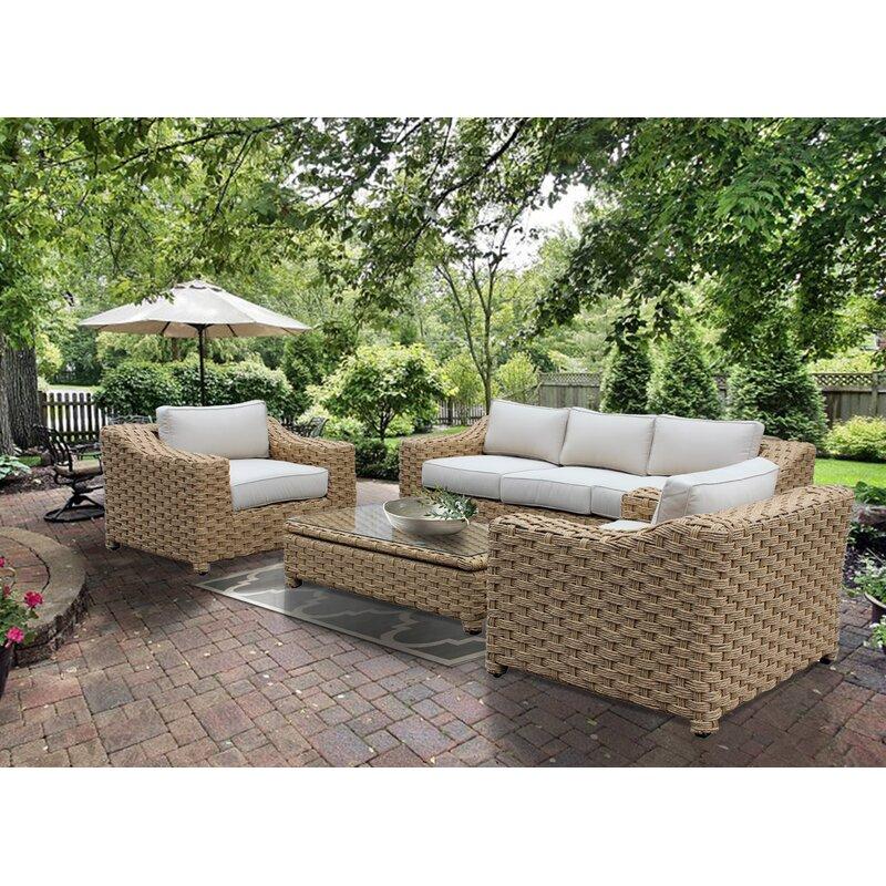 Bayou Breeze Charley 4 Piece Sunbrella Sofa Seating Group With