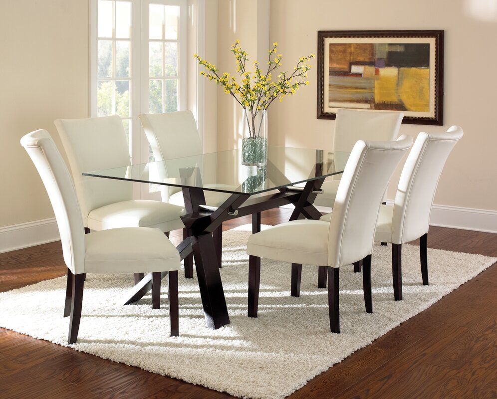 Design Glass Dining Table latitude run hargrave dining table reviews wayfair