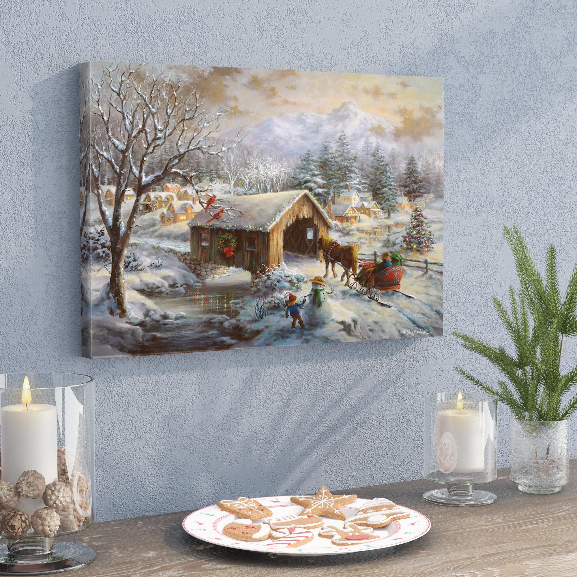 East Urban Home \'Covered Bridge\' Painting Print on Canvas | Wayfair