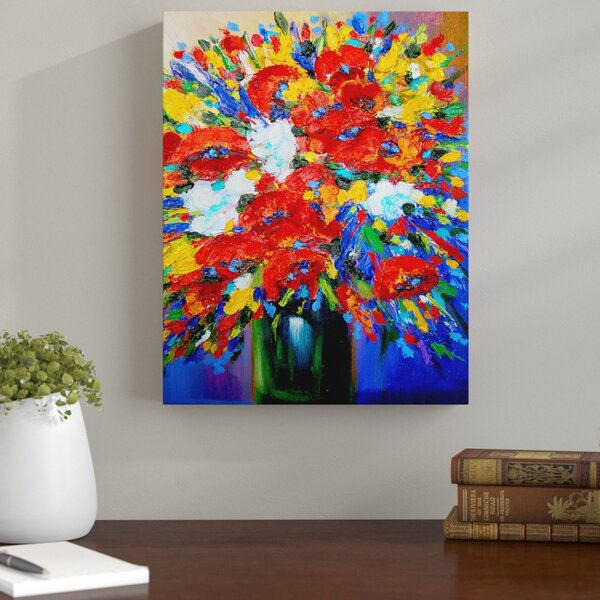 Andover Mills Happy Floral Painting Print On Canvas