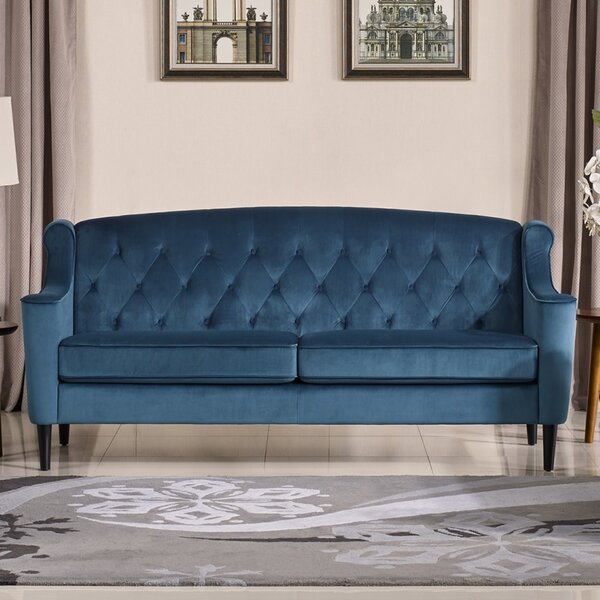 velour sofa Mercer41 Crewkerne Velour Standard Sofa & Reviews   Wayfair velour sofa
