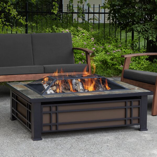 Wood Fire Pit Table   Real Flame Hamilton Steel Wood Burning Fire Pit Table U0026 Reviews | Wayfair