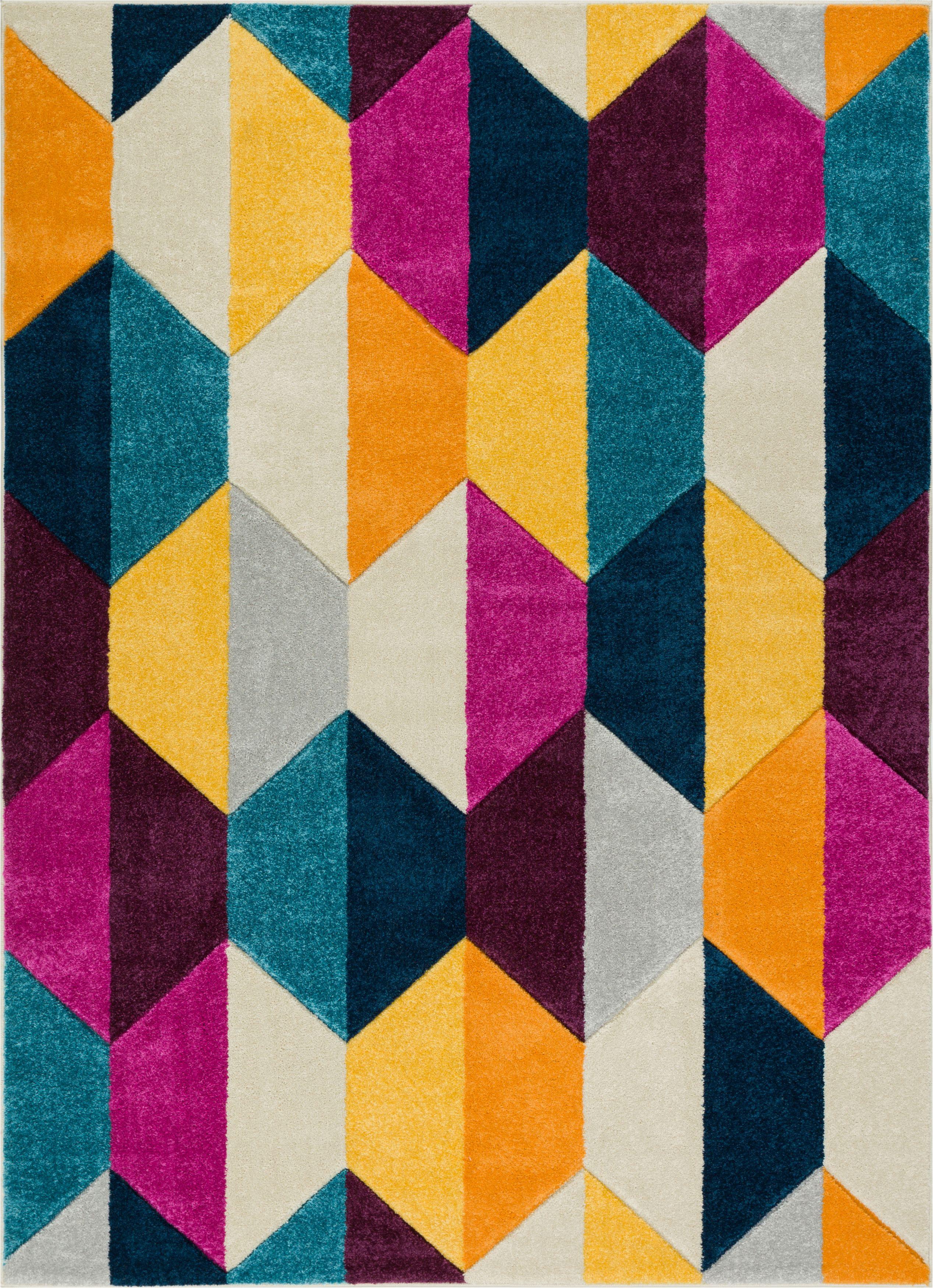 Ebern Designs Fenwick Mid Century Modern Polygon Shapes Cream Area Rug