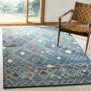 Talmo Hand Hooked Wool Dark Blue/Yellow Area Rug