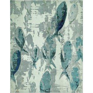 ethel stain resistant light blue area rug