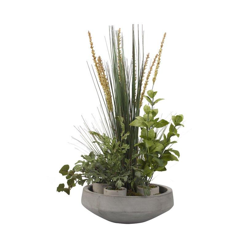 17 Stories Desktop Foliage Plant in Cement Pot