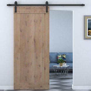 Bent Strap Sliding Door Track Hardware and Vertical Slat Primed Sliding Knotty Solid Wood Panelled Alder Slab Interior Barn Door & Interior Doors You\u0027ll Love | Wayfair