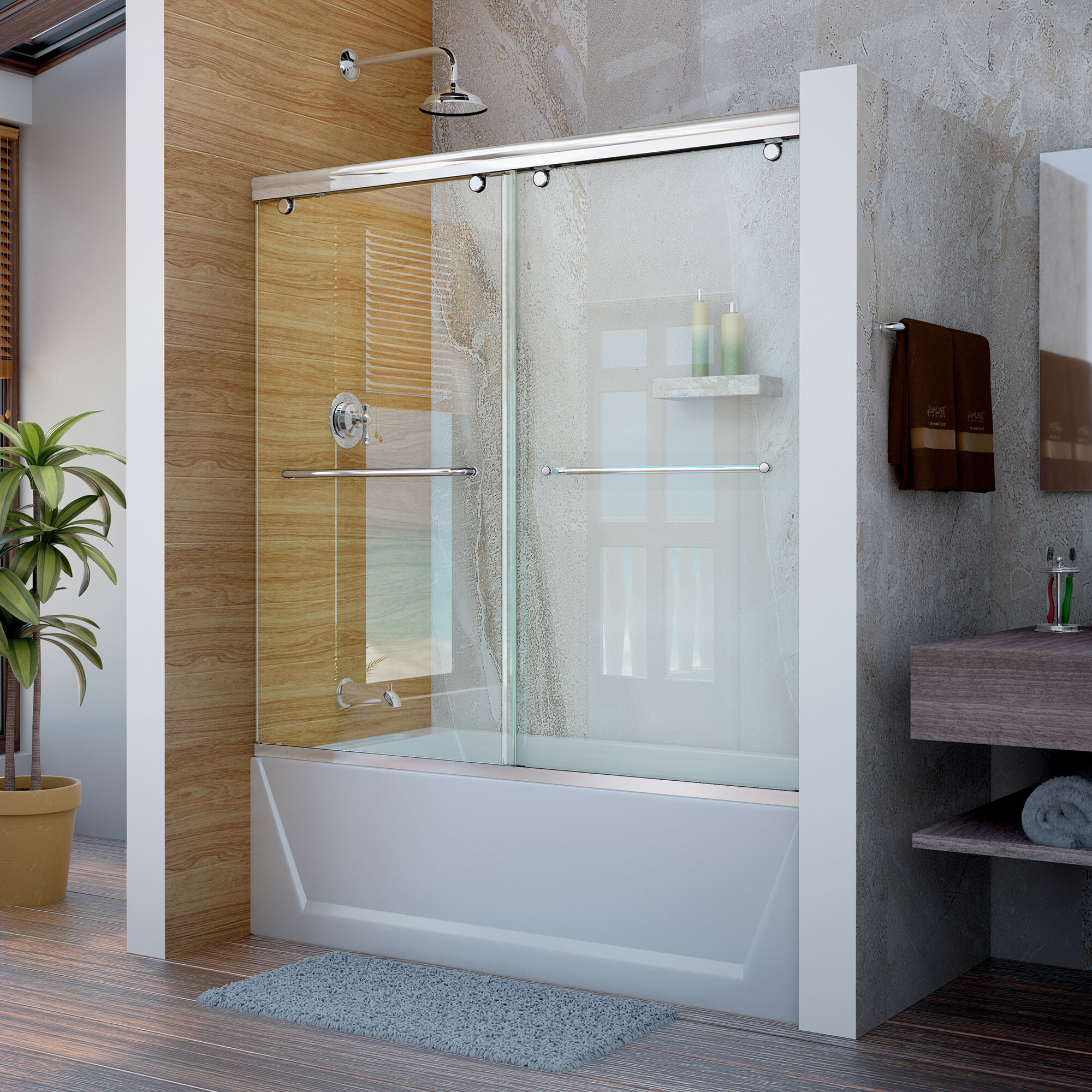 Dreamline Charisma 60 X 58 Bypass Semi Frameless Shower Door With
