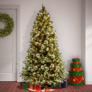 4bbc7b2a9 7.5  White Green Pine Trees Artificial Chritmas Tree with 650 Incandescent  Clear White Lights with Stand