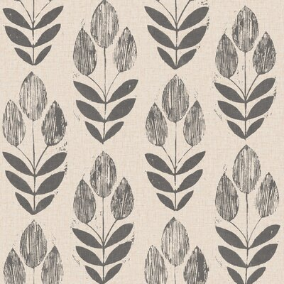 Brayden Studio Ladwig Scandinavian 33' x 20.5 Block Tulip Floral Wallpaper Roll Color: Black