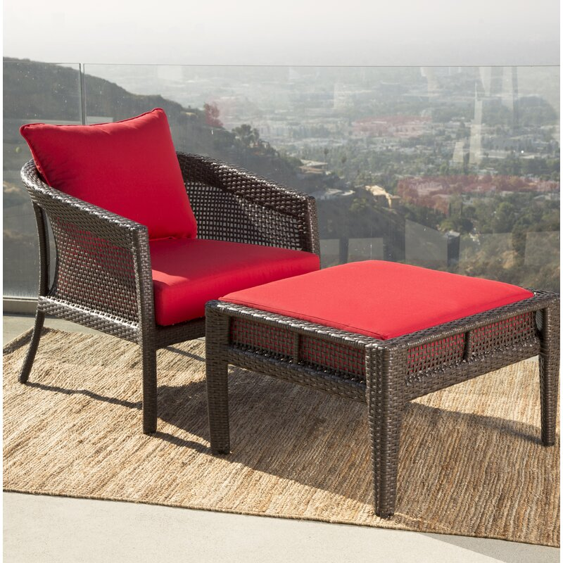 august grove fincham sunbrella red outdoor wicker patio chair wayfair rh wayfair com wicker patio chairs clearance wicker patio chair covers